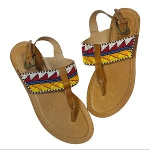 Pikolinos Beaded Leather T Strap Sandals